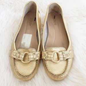 J.Crew Gold Loafers